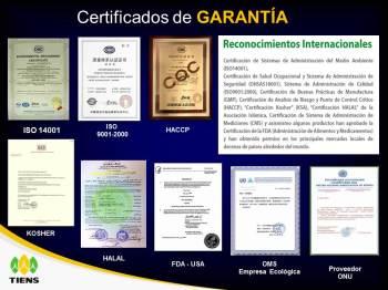 certificaciones de los productos tiens
